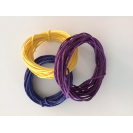 Paper wire (set of 3 colours, 5 metres each). Colours: purple, yellow, blue.ores: Púrpura, amarillo, azul