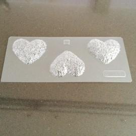 Molde para chocolate corazones con texturas-rosas