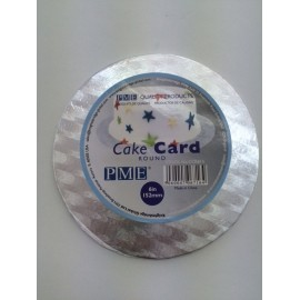 Round cake card 15 cm x 3 mm height (silver colour)