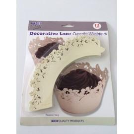 Decorative Lace Cupcake Wrappers Floral Mauve