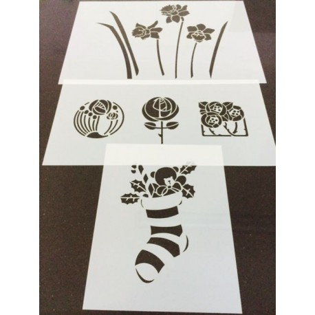 Stencils set of 3 (14x 18 cm, 28 x 14 cm & 30 x 21 cm)