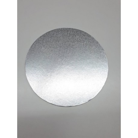 Round cake card 20 cm x 4 mm height (silver colour)